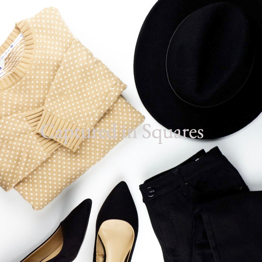 Beige and Black Outfit Flatlay
