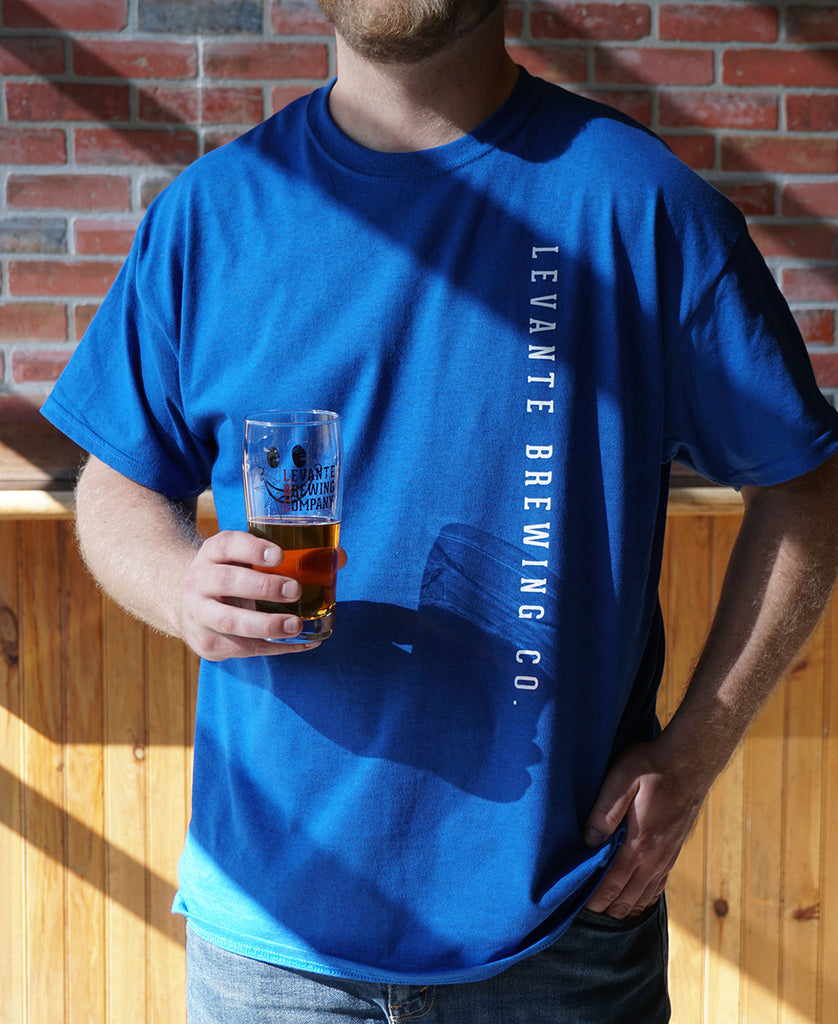 Vertical Text Tee - Bright Royal Blue
