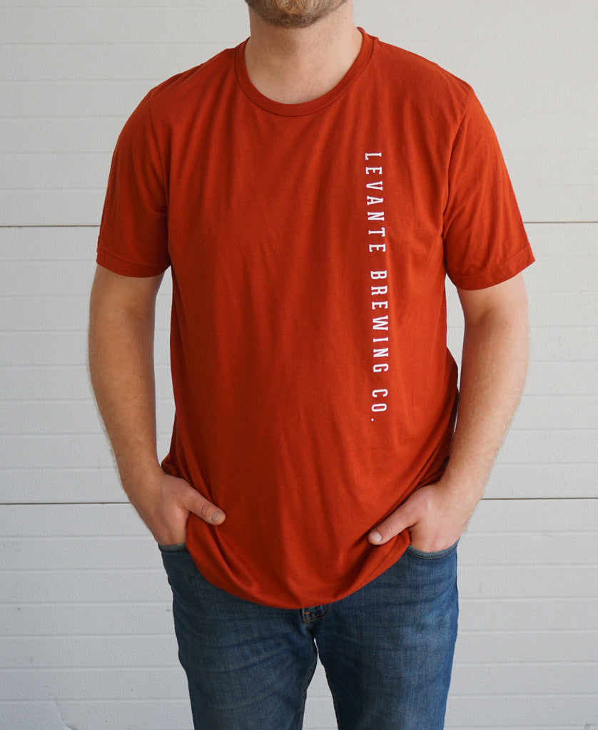 Vertical Text Tee - Brick Tri-Blend