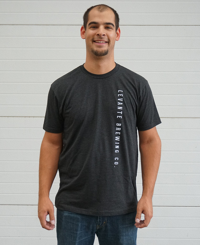 Vertical Text Tee - Solid Black Tri-Blend