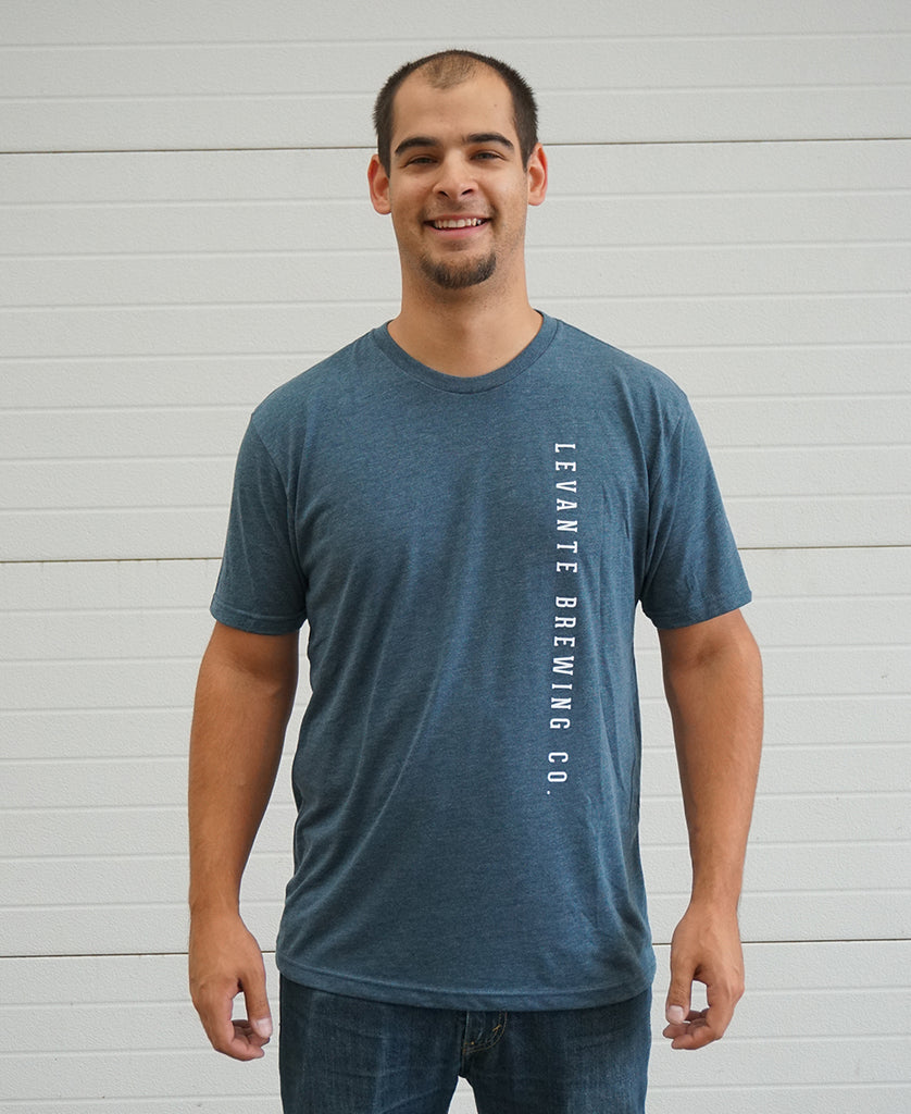 Vertical Text Tee - Indigo Tri-Blend