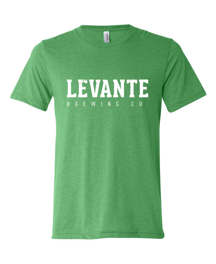 Distressed Levante Block Logo T-Shirt - Green Triblend