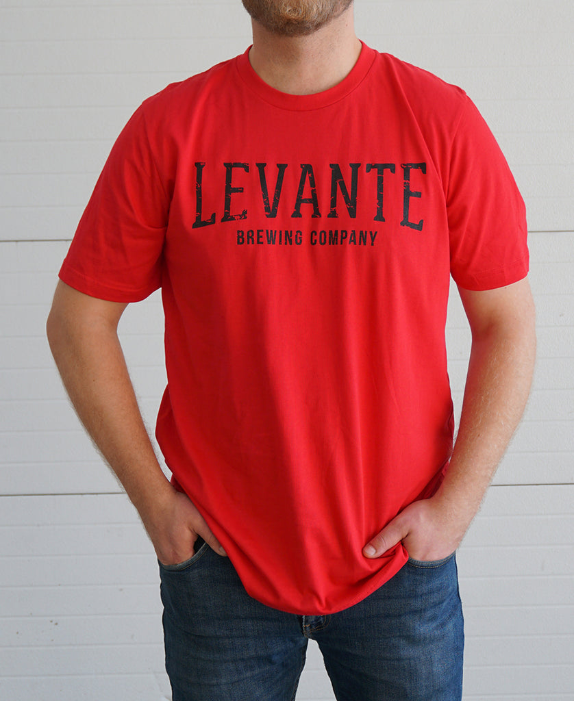 Distressed Levante T-Shirt - Red (Hop-Fleur Back)