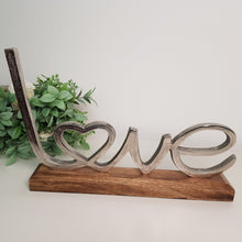 Large Metal Love on Wooden Base