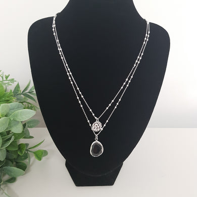 POM Silver Double Chain Necklace with Hammered Disc and Clear Crystal