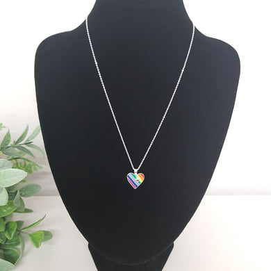 POM Rainbow Enamelled Heart Necklace