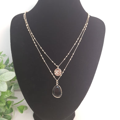 POM Gold Double Chain Necklace with Hammered Disc and Clear Crystal