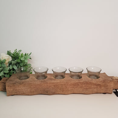 Mango Wood and Glass Five Tealight Candle Holder