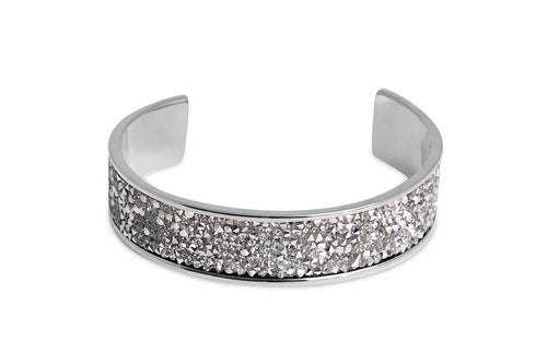 Qudo Tirano Silver Crystal Bangle - Steel