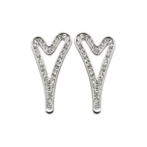 Miss Dee Silver Hollow Heart Diamante Stud Earrings