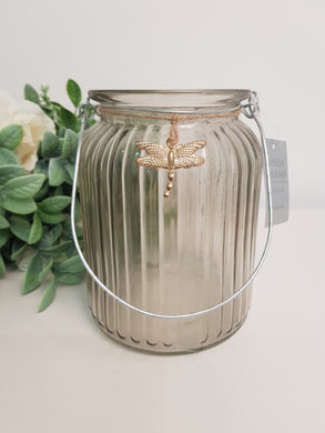 Grey Glass Ribbed Tealight Jar with Gold Bee or Dragonfly (2 Assorted)
