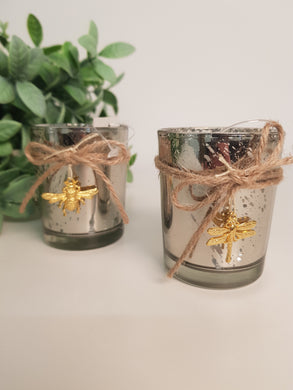 Silver Glass Tealight Holder with Gold Bee or Dragonfly (2 Assorted)