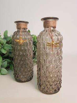 Grey Glass Bottle with Gold Bee or Dragonfly (2 Assorted)