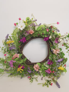 Artificial Silk Wild Flowers Wreath