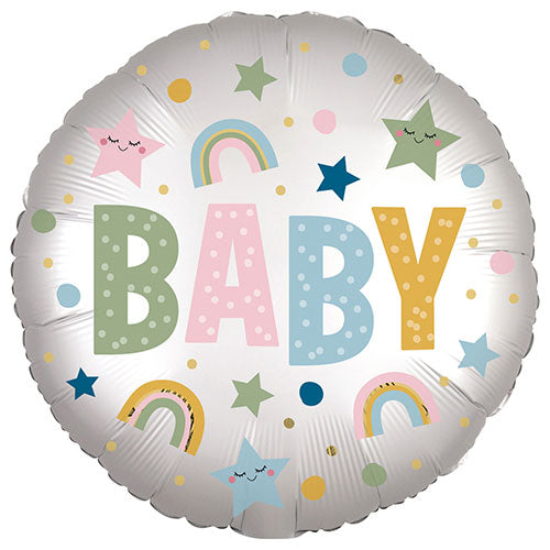 New Baby Rainbow and Stars Round Foil Balloon