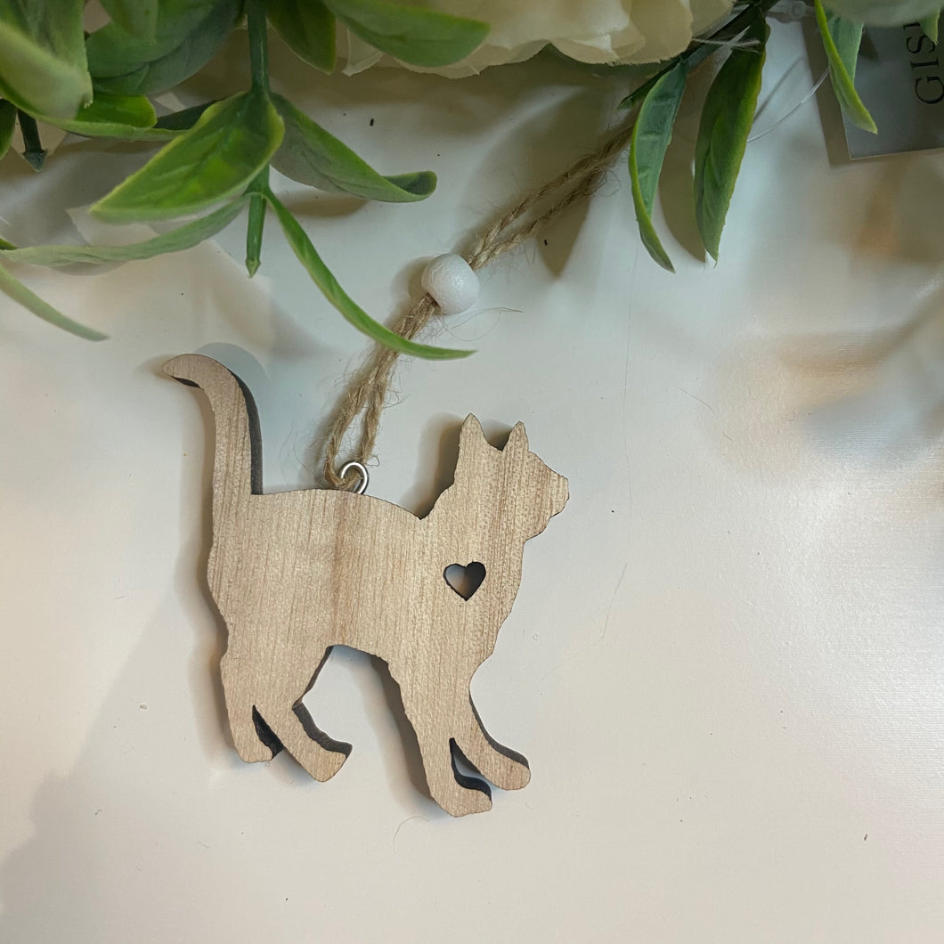 Hanging Wooden Cat Decoration