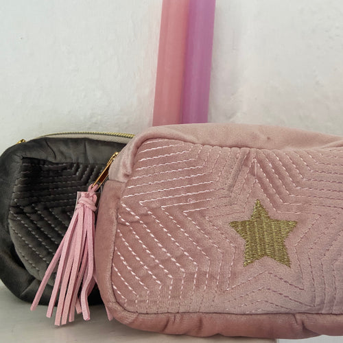 Pink and Grey Star make up Bags