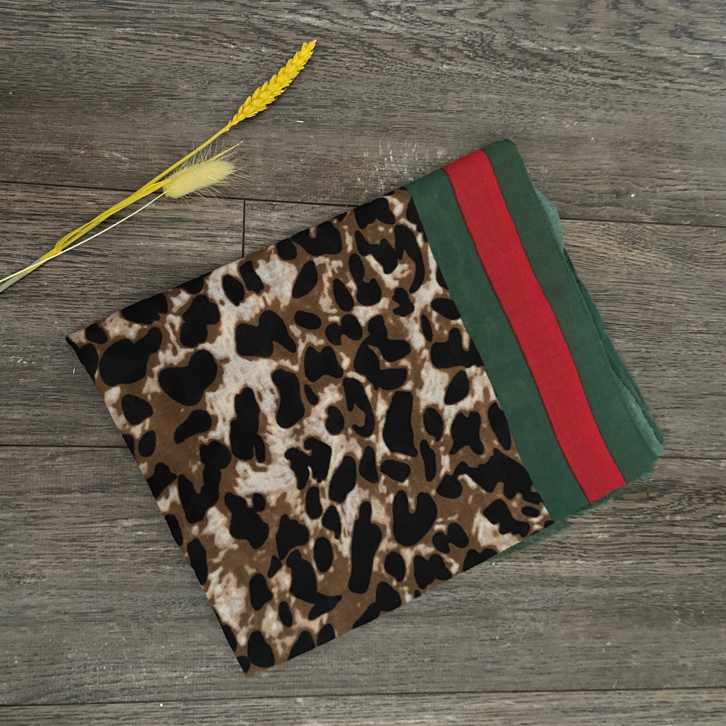 Green, Red and Leopard Print Scarf