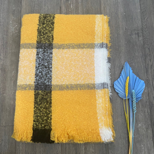 Yellow and Grey Check Fluffy Scarf