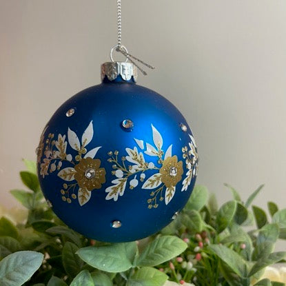 Blue and Gold Flower Bauble
