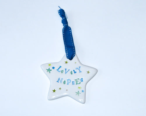 Lovely Nephew Ceramic Hanging Star