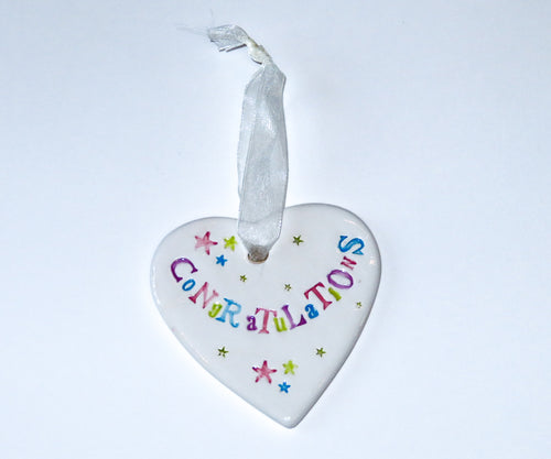 Congratulations Ceramic Hanging Heart