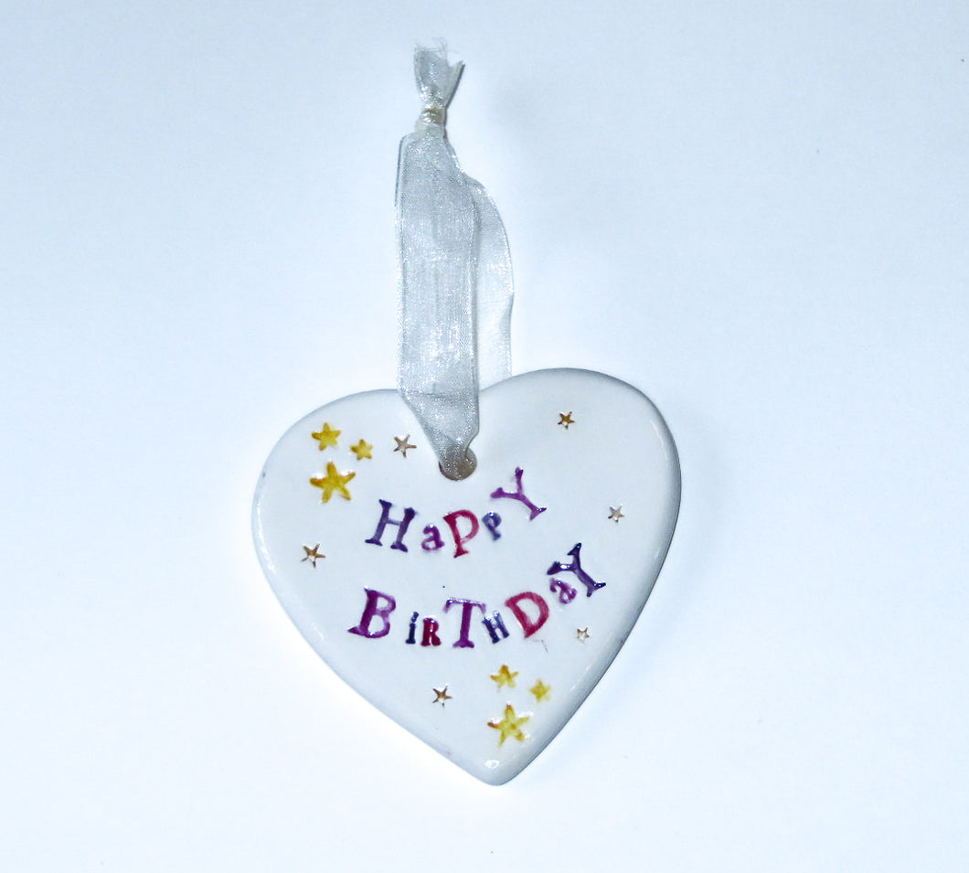Happy Birthday Ceramic Hanging Heart
