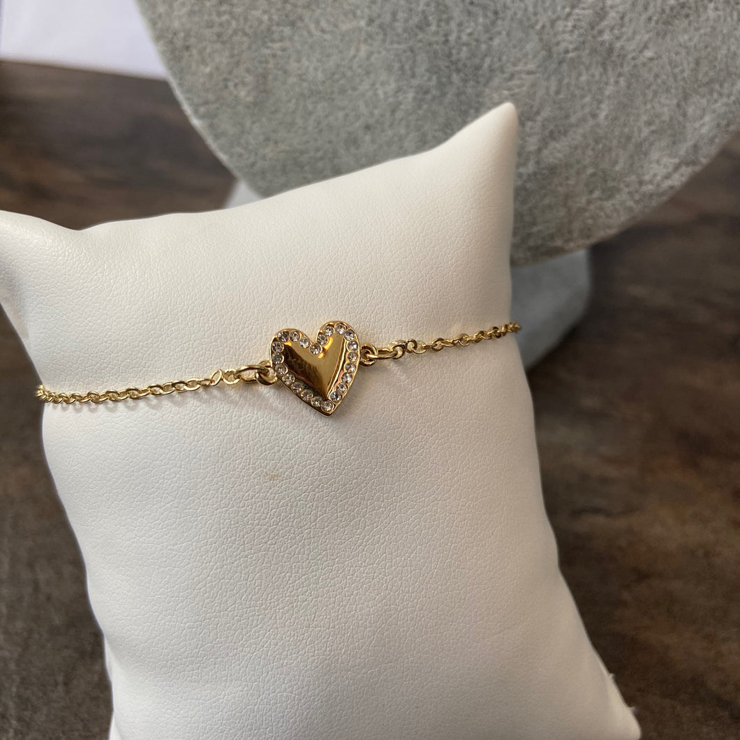 Gold SNO Crystal Heart Bracelet