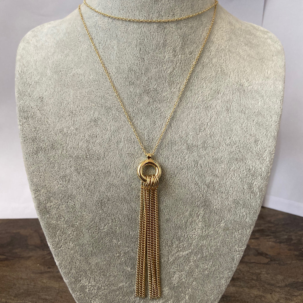 Gold SNO Long Tassel Necklace