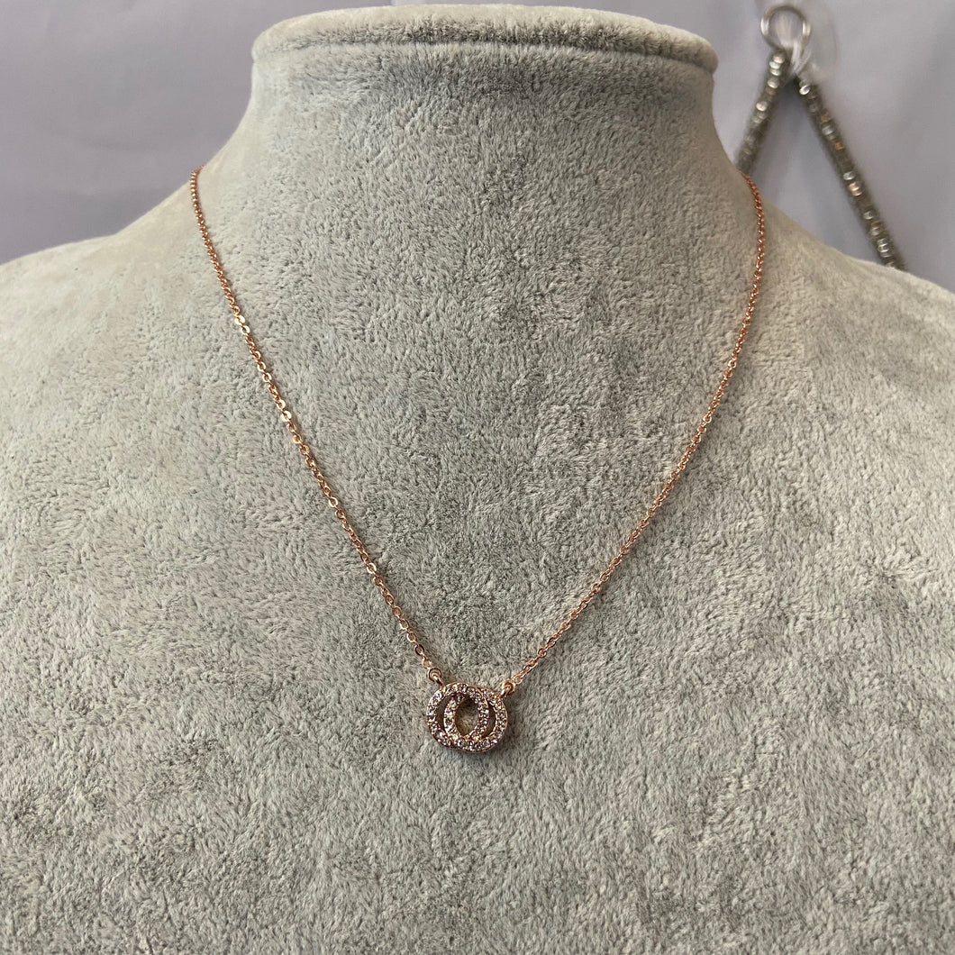 Francis Small Rose Gold Crystal Necklace
