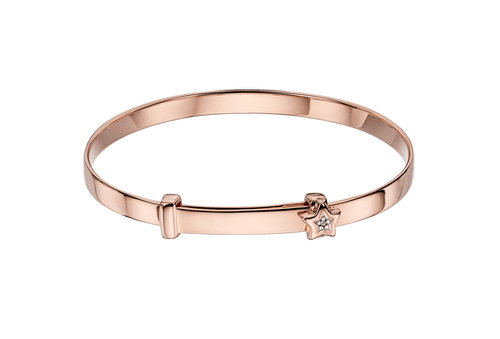 Gracie Rose Gold Diamond Star Christening Bangle