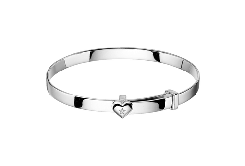 Gisele Diamond Heart Baby Bangle