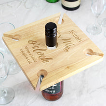 Personalised Wine O'clock Four Wine Glass Holder & Bottle Butler
