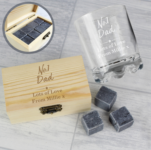 Personalised 'No1' Whisky Stones & Glass Set