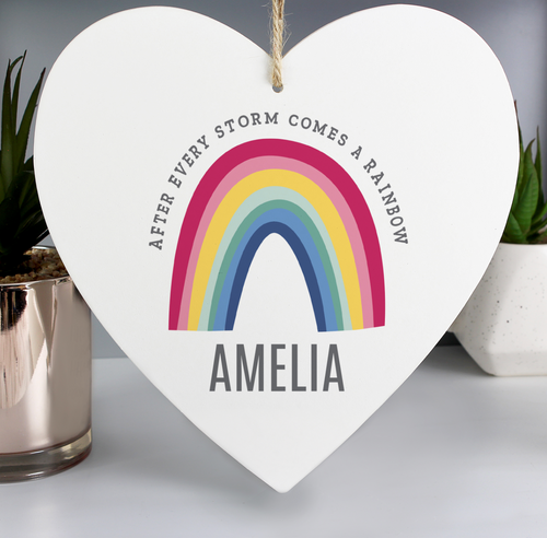 Personalised Rainbow Wooded Heart Decoration
