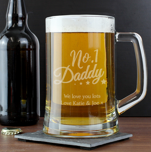 Personalised 'No.1 Daddy' Glass Pint Stern Tankard
