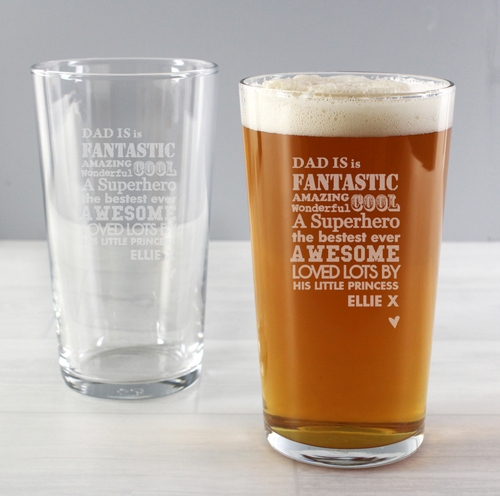 Personalised Dad Pint Glass