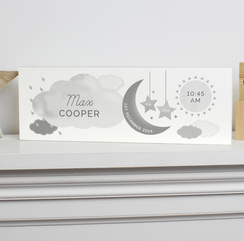 Personalised New Baby Moon and Stars Wooden Sign