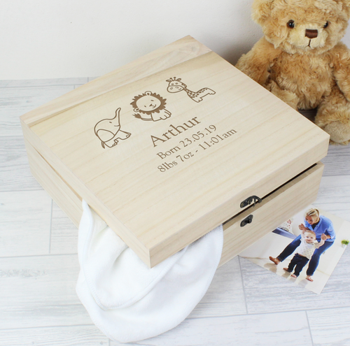 Personalised Hessian Friends Large Wooden Baby Box