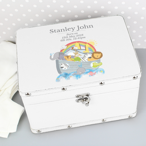 Personalised Noah's Ark White Leatherette Box
