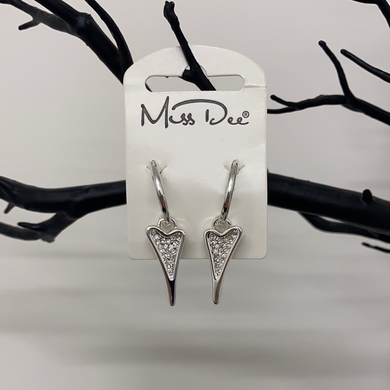 Miss Dee Silver Hooped Earrings With A Diamante Heart Shaped Drop Pendant