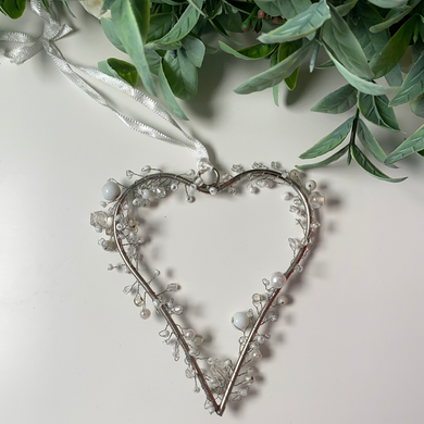 White Beaded Hanging Heart