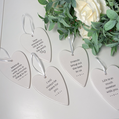 Sentimental Ceramic Hanging Heart (5 Quotes)