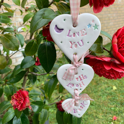 Love You To The Moon and Back  Ceramic Hanging 3 Hearts