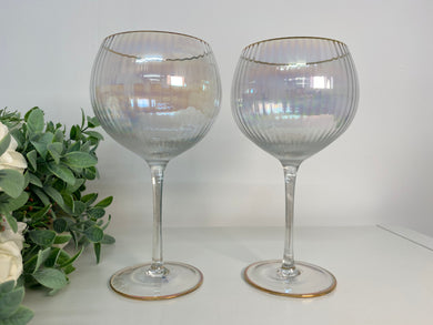 Lustre Ribbed Gin Glasses (set 2)