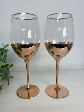Rose Gold Wine Glasses (set 2)