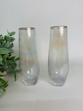 Stemless Lustre Ribbed Flutes (pair)