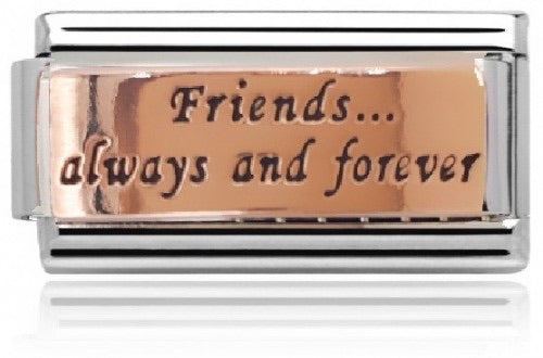 Charmlinks Friends Always and Forever Rose Gold on Silver Super Charm