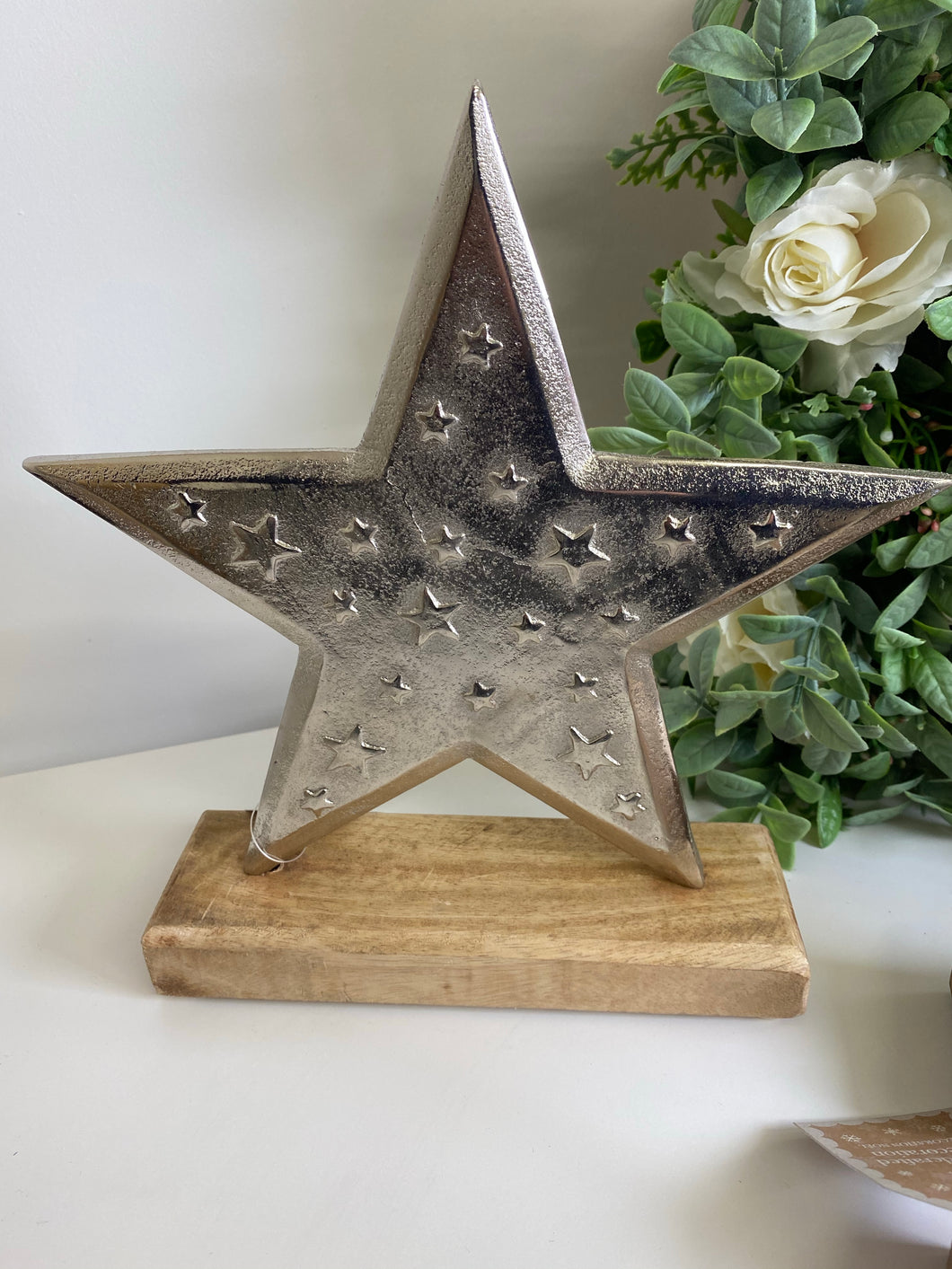 Metal star on wooden base 2 sizes available
