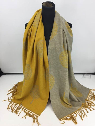 SALE - Mustard & Grey Tree of Life Scarf
